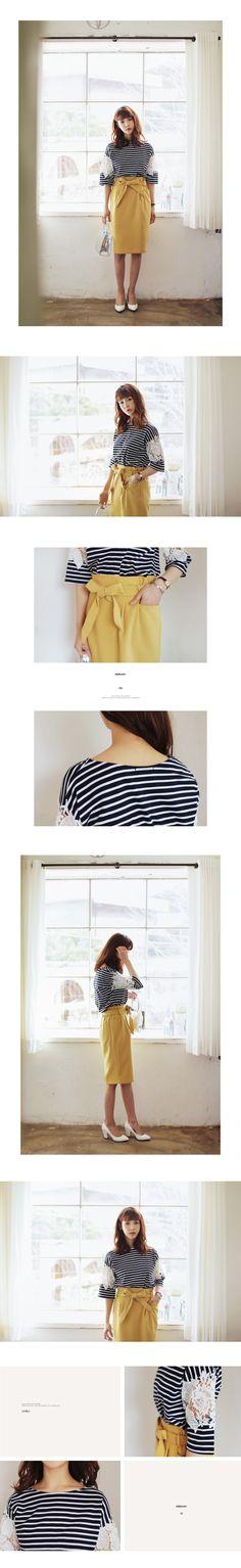 ●●雑誌サンキュ!5月号掲載●●シースルーレーススリーブボーダーTシャツ・全2色トップス・カットソーカットソー・Tシャツ|レディースファッション通販 DHOLICディーホリック [ファストファッション 水着 ワンピース]