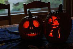 jack skellington & sally pumpkins