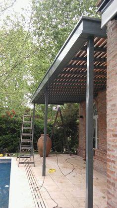 Pergola At Home Depot Modern Pergola, Metal Pergola, Deck With Pergola, Patio Roof, Pergola Patio, Pergola Plans, Pergola Ideas, Black Pergola, Metal Roof