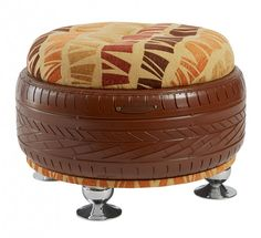 Brown Ottoman with African Design Top (Duka) Tire Furniture, Upcycled Furniture, Industrial Furniture, Furniture Plans, Tire Seats, Tire Chairs, Brown Ottoman, Diy Ottoman, Bucket Bbq