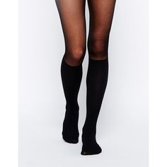 Tights by Gipsy Made in Italy Semi-sheer, stretch fabric Knee-high mock sock design Ribbed finish High-rise waist Elasticated waistband 100 denier finish Machi…