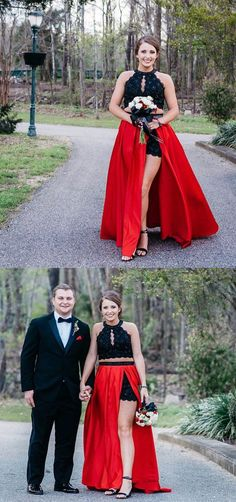 two piece black and red long prom dress, elegant prom dress with side slit, party dress Senior Prom Dresses, Best Prom Dresses, Prom Dresses For Teens, Elegant Prom Dresses, Beautiful Prom Dresses, Prom Dresses Online, Cheap Prom Dresses, Formal Evening Dresses, Modest Dresses