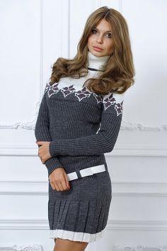 Зимнее платье спицами » ниткой вязаные вещи для вашего дома.