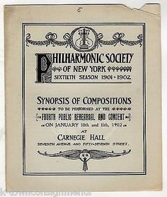 SISTERS SYMPHONY ORCHESTRA ANTIQUE NY PHILHARMONIC SOCIETY CONCERT PROGRAM 1902