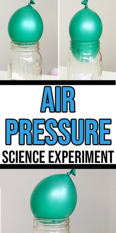 Balloon Air Pressure Experiments for Kids - Wow! What a simple way to teach kids about air pressure. You can do this fun and easy Balloon Air Pr - Air Pressure Experiments, Chemistry Experiments For Kids, Weather Experiments, Weather Science, Weather Unit, Balloon Science Experiments, Stem Science, Earth Science, Fun Activities For Preschoolers