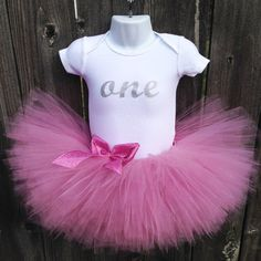 Rose Pink and Silver First Birthday Tutu Outfit and Crown Headband | Glittery Silver ONE | Birthday Photos, Party Dress, Mini Princess Crown by Zobows on Etsy