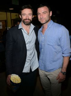 ERMAGHERD!!! Hugh Jackman and Liev Schreiber!! Too much hotness in one pic!