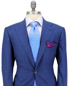 Kiton | Blue Plaid with Blue Windowpane Suit | Apparel | Men's
