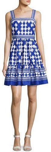 Kate Spade Sleeveless Quatrefoil Lantern Dress, Blue