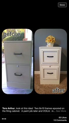 DIY Filing cabinet makeover - used epoxy to attach cheap frames from walmar. - DIY Filing cabinet makeover – used epoxy to attach cheap frames from walmart, painted entir - Furniture Projects, Furniture Makeover, Home Projects, Furniture Plans, Furniture Websites, Furniture Refinishing, Furniture Cleaning, Homemade Office Furniture, Furniture Nyc