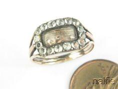 ENGLISH GEORGIAN GOLD PASTE CRYSTAL MOURNING LOCKET RING c1820 | eBay