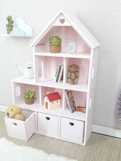 "doll furniture Miniature bookcase/dollhouse for dolls. Approximate size: -height cm, width depth (height "", width "", depth "") You can choose the options: -unpain Kids Bedroom Furniture, Doll Furniture, Furniture Plans, Plywood Furniture, Furniture Design, Dollhouse Furniture, Steel Furniture, Retro Furniture, French Furniture"