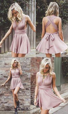 Cheap Homecoming Dress, A-Line  Homecoming Dress, Deep V-Neck  Homecoming Dress, Short  Homecoming Dress,  Blush Convertible Homecoming Dress, Self-tie Straps  Homecoming Dress,  Homecoming Dress For girls
