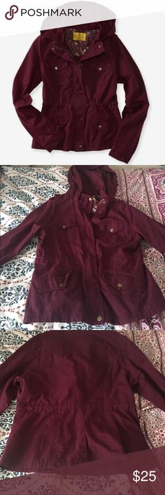 Aeropostale/ Prince and Fox Red Parka This burgundy red hooded parka is warm but lightweight! Zips up and buttons, has 4 pockets, and can flare if tighten from the inside! Aeropostale Jackets & Coats