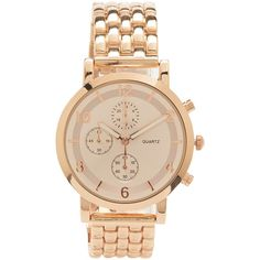 Aeropostale Classic Metal Watch ($12) ❤ liked on Polyvore featuring jewelry, watches, rose gold, metal jewelry, leather-strap watches, metal strap watches, aeropostale jewelry and polish jewelry