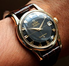 Omega Constellation. My dad had almost this exact watch when I was a kid. He wore it every single day for 50+ years. I still have it.