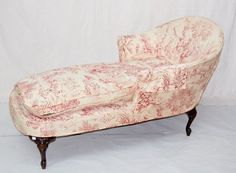 Toile Upholstered Chaise Lounge old fab French country look