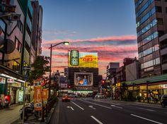 """An Asakusa staple, its biggest neon ad (Asahi's Super Dry beer at the crossroads of Kaminarimon Dori and Kokusai Dori) under a spectacular yuuyake, a """"burning sky sunset"""". #Asakusa, #Kaminarimon, #Kokusai, #yuyake, #sunset September, 13 © 2015 Grigoris A. Miliaresis"""