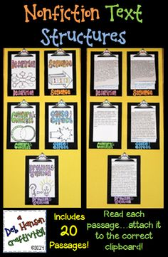 $ This engaging activity puts a fun spin on learning nonfiction text structures!  It also makes a creative bulletin board or school hallway display!  It can even be used as a valuable addition to your students' interactive notebooks!    DESCRIPTION, SEQUENCE, CAUSE AND EFFECT, COMPARE AND CONTRAST, PROBLEM AND SOLUTION  http://www.teacherspayteachers.com/Product/Nonfiction-Text-Structures-Craftivity-featuring-20-passages-560076