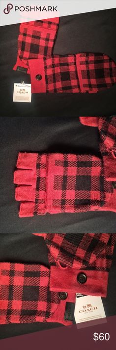 Coach Signature Plaid Mitten NWT Brand new with tags attached - 100% authentic Coach Signature Plaid Texting Mitten/Gloves  F56233 True Red  55% Merino Wool 45% Acrylic One Size Dry Clean Only Stay warm and connected. These plaid mittens fold back to expose your fingers while you text, call or use any of your tech devices. The button attaches the mitten portion of your glove securely while you use your phone. Coach Accessories Gloves & Mittens