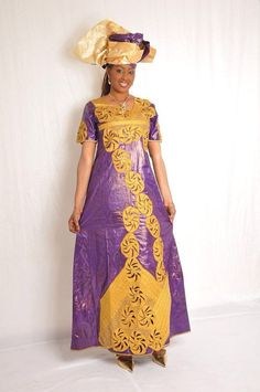 Purple African brocade maxi dress by NewAfricanDesigns on Etsy African Wedding Attire, African Attire, African Beauty, African Women, African Style, African Wear Dresses, African Outfits, African Clothes, African Traditional Dresses