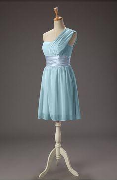 b5e9035ee Aqua Bridesmaid Dress Cute Asymmetric Neckline Zip up Chiffon Sash Dresses  For Work, Summer Dresses