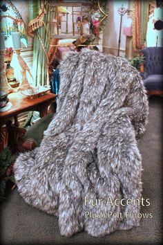 Luxurious Gray Spotted Lynx Faux Fur Throw by BedspreadsAndThrows, $98.95