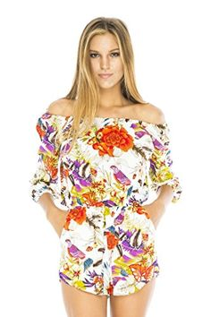 Back From Bali Shorts Jumpsuit romper off the shoulder neckline and side pockets.  Beautiful floral design wear in day with flats or with heels at night