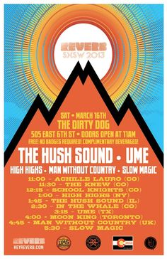 Reverb Party, March 16th at The Dirty Dog #TheHushSound #Ume #HighHighs #SlowMusic