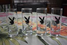 Vintage Mid Century 1970's Playboy Shot Glasses Lot of 4