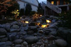 Don't forget to add lighting to your water features.