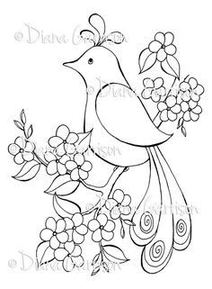 Pretty Bird Digi Stamp    Picture #2 is a SAMPLE ONLY (not included with purchase) created by the talented Holly Young of hogwildaboutstamping.blogspot.com    This digi stamp is in 300 dpi png file format. It will come to you uncolored without watermarks. Upon payment confirmation