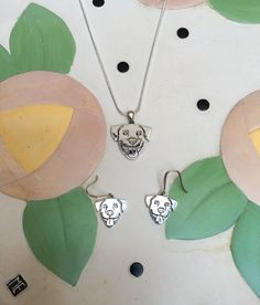 Smiling Pit Bull Sterling Silver Necklace and Earrings Gift Set