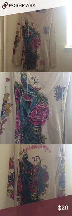 Christian Audigier Very nice Christian Audigier size M thin shirt/hooded sweater, stretchy material with rhinestones, front pocket. Christian Audigier Tops Sweatshirts & Hoodies