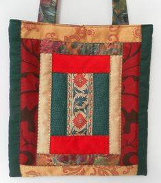 Quilted, Patchwork, Shoulder Bag, Shades of Green, Gold and Red £20.00