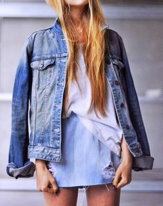 Pair a denim skirt with a denim jacket for a chic denim-on-denim look. //#Fashion
