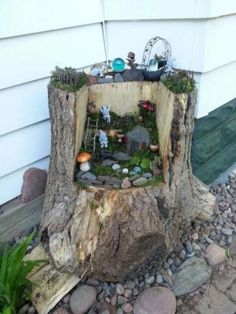 Have you ever seen a fairy garden? It is a miniature garden, a small magical world you can create in a flower pot or garden bed. This project is fun for the whole family. A fairy garden is a combination of a mini garden and an outdoor doll house. Mini Fairy Garden, Fairy Garden Houses, Gnome Garden, Fairy Gardening, Organic Gardening, Garden Path, Garden Works, Diy Garden, Gardening Tips