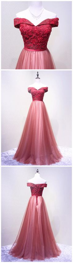 CHIC A-LINE OFF-THE-SHOULDER RED APPLIQUE MODEST LONG PROM DRESS EVENING DRESS AM552 #fashion #style #long #prom #party #evening #beauty #chic #love #bridal #promdress #promdresslong #longpromdress #eveningdress #promdresses #redpromdress