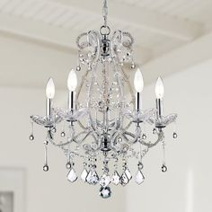 House of Hampton Demi 5 - Light Candle Style Classic / Traditional Chandelier with Crystal Accents Chandelier, Candle Style Chandelier, Candle Styling, Traditional Chandelier, Light, Classic Candles, Candlelight, Chandelier Shades, Glass Candelabra