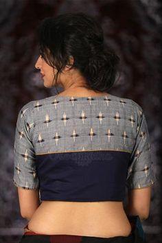 Cotton Saree Blouse Designs, Fancy Blouse Designs, Blouse Back Neck Designs, Stylish Blouse Design, Designer Blouse Patterns, Indian Suits, Indian Dresses, Cotton Blouses, Ikkat Dresses