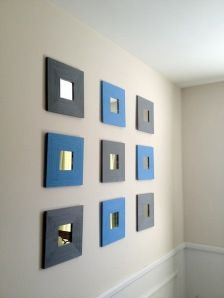 Ikea malma mirrors = wall art. these are ~$1.99 each. cheap and easy! less than $20 to decorate a whole wall. WIN!