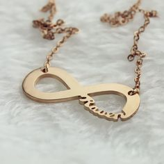 Solid Rose Gold Infinity Name Necklace
