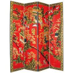 Oriental Village Hand-Painted Japanese Room Divider Screen