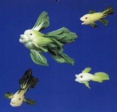 Bok Choy Fish Creations ....how fun!  facebook.com/theveggiegoddess