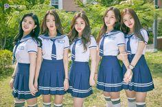 Kim Eunsuh, Natty, Park Jiwon,Lee Dahee and Chu Wonhee (i don't believe Wonhee with that tall? Cute School Uniforms, School Uniform Fashion, School Girl Outfit, School Uniform Girls, Stage Outfits, Girl Outfits, Cute Outfits, Fashion Outfits, Pop Fashion