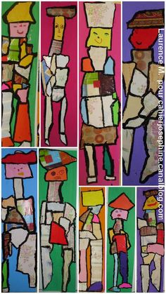 Collage wood, draw figure, paint solid color around figure, outline all paper pieces with black. laurenceMchaissac03
