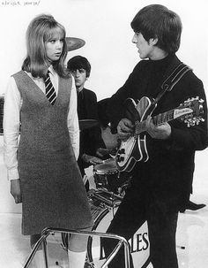 "Pattie Boyd and George Harrison on the set of ""A Hard Day's Night"""