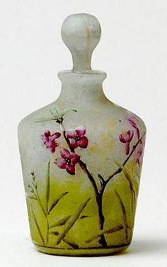Daum Nancy Glass; Cameo, Perfume Bottle,