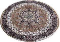 Silk Blend Round Oriental Rugs For Sale Jammu Goldish Brown Handmade Rug 6x6 ft