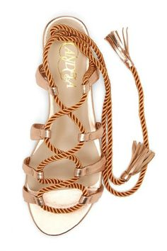 Rose Gold Lace Up Sandals